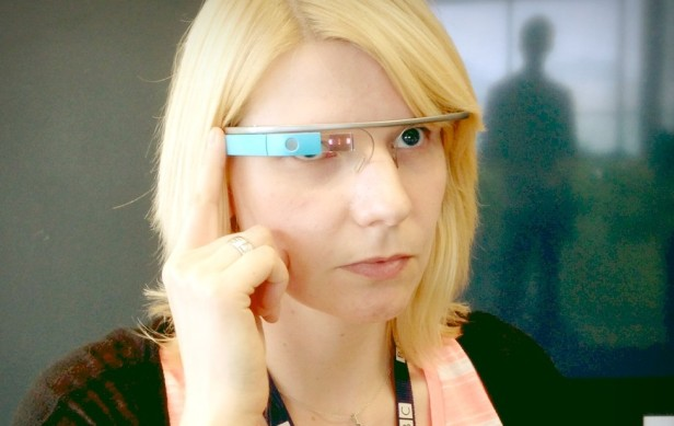 Gemma @RetroWench tries on Bob's Google Glass