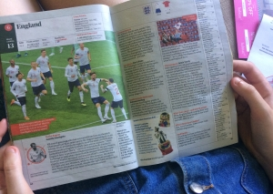 Magazine showing England team